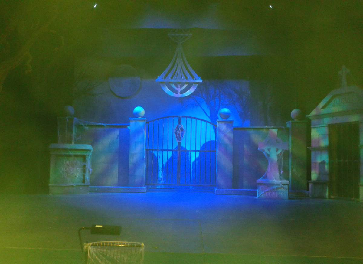 Addams Set Picture with lighting & smoke.